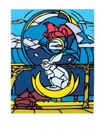 Lithograph Adami - Le lapin, l'aigle et la lune