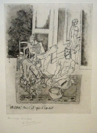 Engraving Courmes - Le lavement de pieds II (noir)