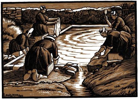 Woodcut Moreau - Le Lavoir / The Wash-House - Gravure S/bois / Woodcut - 1908