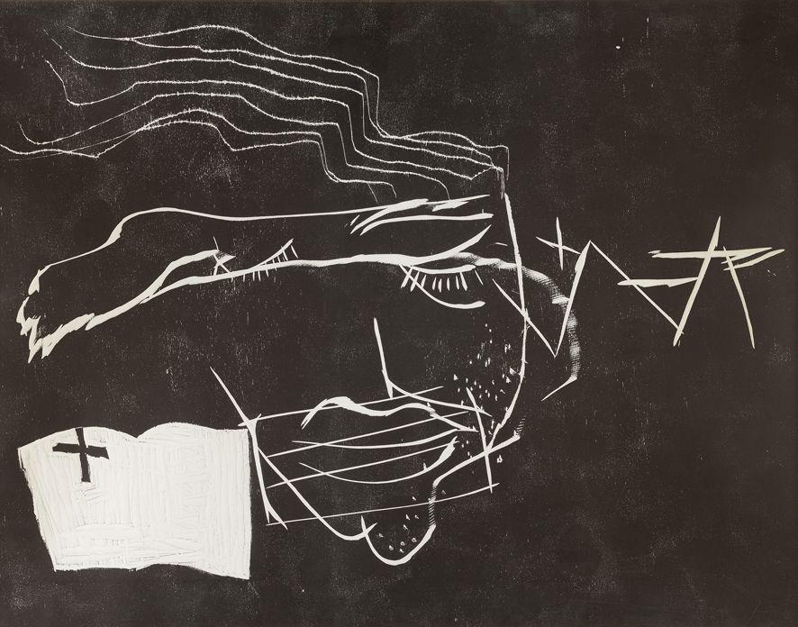 Woodcut Tàpies - Le lecteur