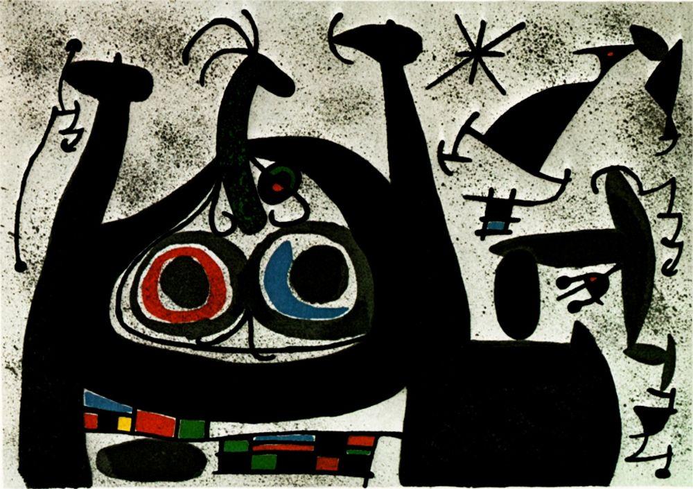 Lithograph Miró -  Le Lezard aux plumes d'or - Arc-en-ciel  - (Maeght 818)
