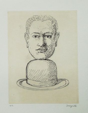 Etching And Aquatint Magritte - Le lien de paille (Man with a Bowler Hat)