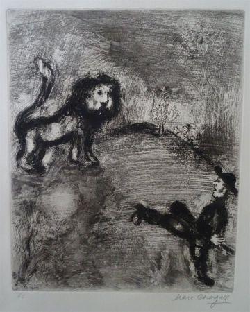Engraving Chagall - Le Lion et les Chasseurs
