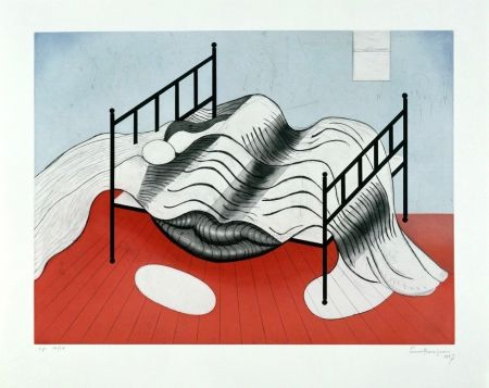 Etching And Aquatint Bourgeois - Le Lit Gros Édredon (with lips)