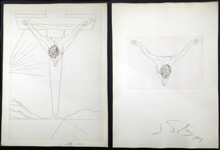 Etching Dali - LE MANIFESTE MYSTIQUE. Les 2 gravures signées. Christ de saint Jean de la Croix