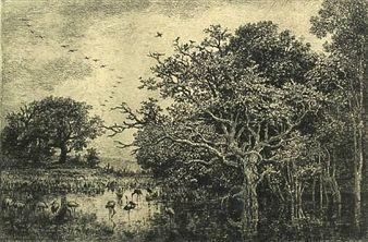 Etching Daubigny - Le marais aux cigognes