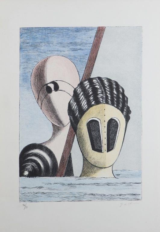 Lithograph De Chirico - Le Maschere