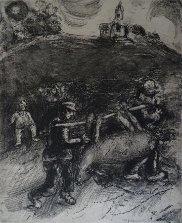 Engraving Chagall - Le Meunier, son fils  et l'Ane