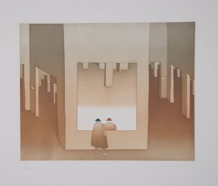 Etching And Aquatint Folon - Le Miroir