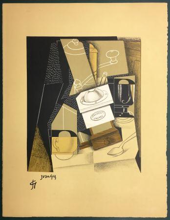 Lithograph Gris  - Le moulin à café. Lithographie. 1955