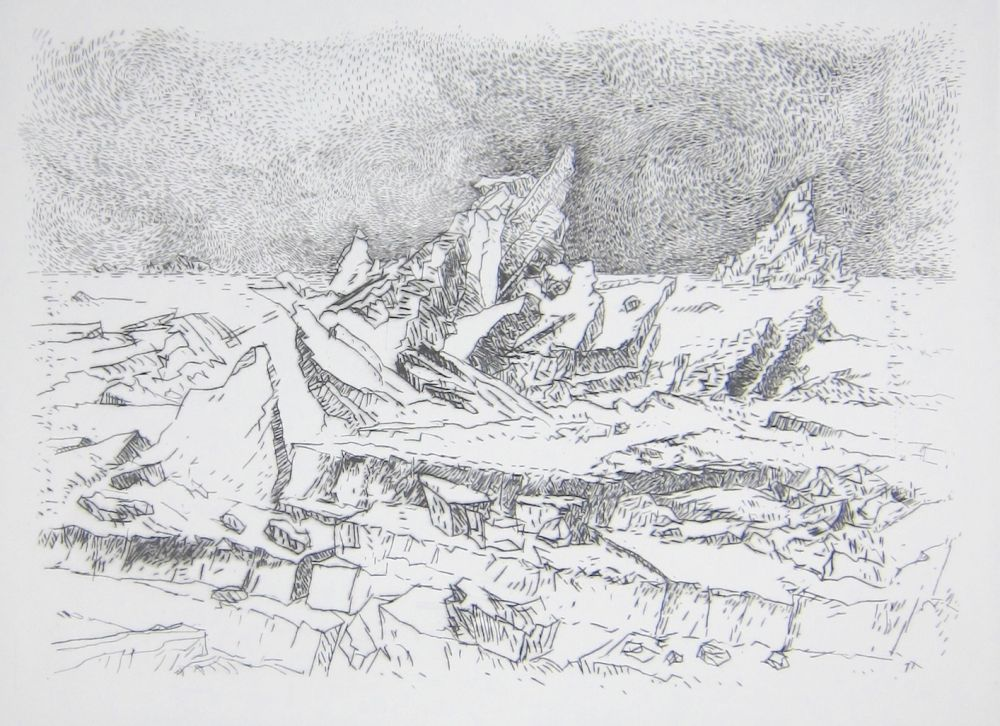 Drypoint Leclercq-K. - Le Naufrage (d'après Caspar David Friedrich) 1er état