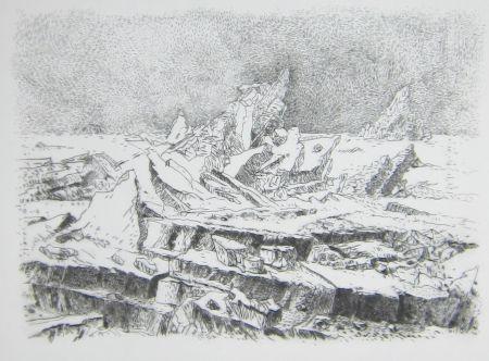 Drypoint Leclercq-K. - Le Naufrage (d'après Caspar David Friedrich) 2e état