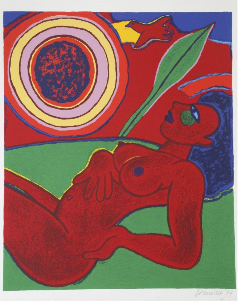 Lithograph Corneille - Le nu rouge en été