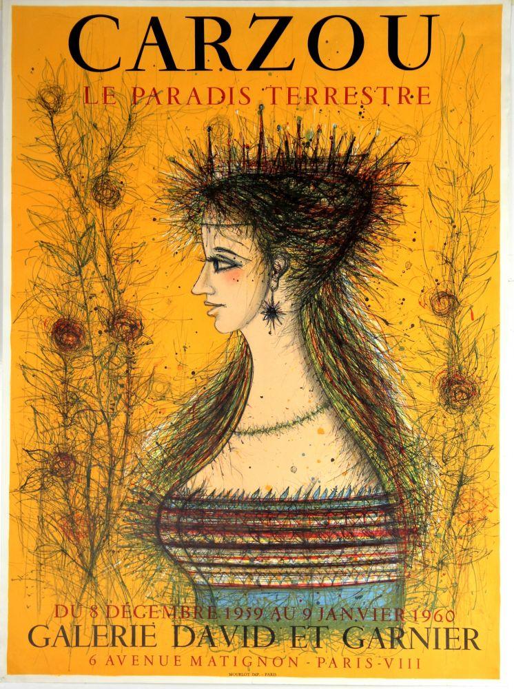 Lithograph Carzou - Le Paradis Terrestre  Galerie David et Garnier