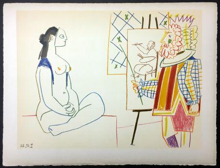 Lithograph Picasso - Le peintre costumé et son modèle (de La Comédie Humaine - Verve 29-30. 1954)