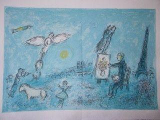 Lithograph Chagall - Le peintre et son double