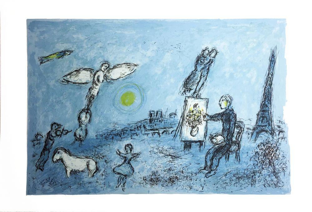 Lithograph Chagall - LE PEINTRE ET SON DOUBLE (Épreuve à plat sur Arches). 1981.