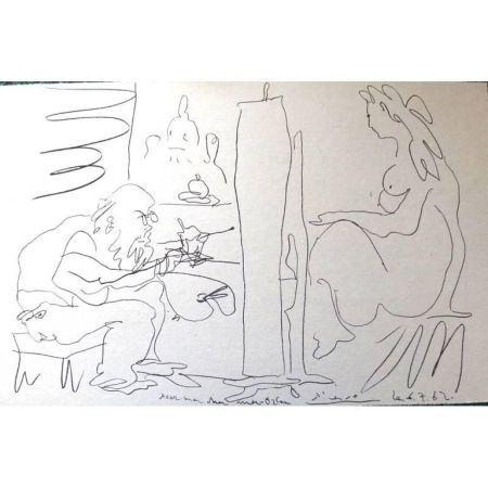Lithograph Picasso (After) - Le Peintre et son Modèle