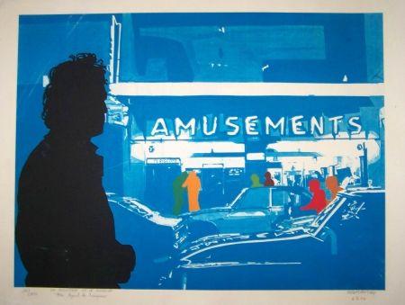 Screenprint Fromanger - Le peintre et son modèle azur