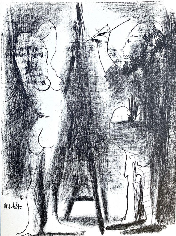 Lithograph Picasso - Le Peintre et son modele