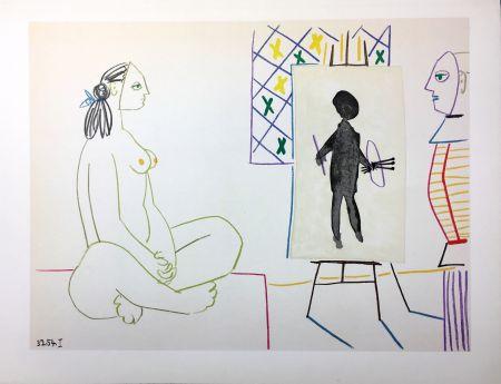Lithograph Picasso - Le peintre masqué et son modèle (La Comédie Humaine - Verve 29-30. Vallauris1954).