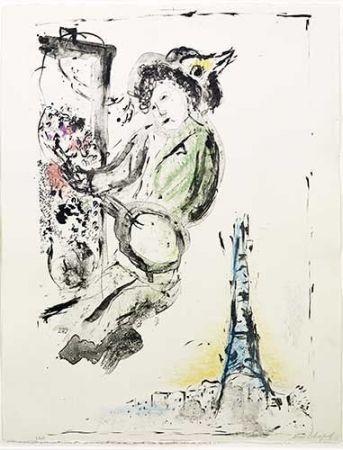 Lithograph Chagall - Le peintre sur Paris