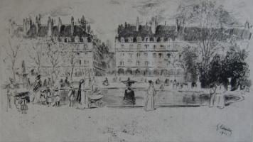 Etching Leheutre - Le petit bassin des Tuileries