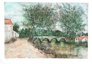 Lithograph Gantner - Le petit pont