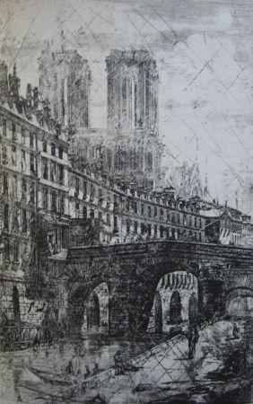 Etching Meryon - Le Petit Pont, Paris