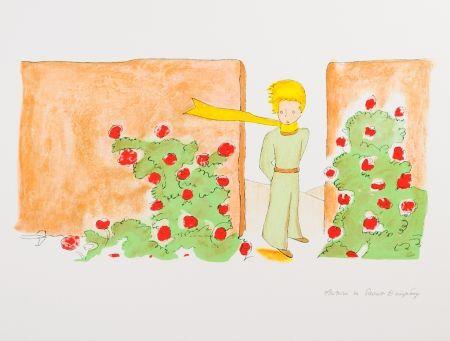 Lithograph Saint-Exupéry - Le Petit Prince dans le jardin des roses