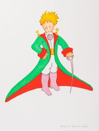 Lithograph Saint-Exupéry - Le Petit Prince en grand manteau