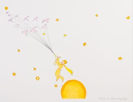 Lithograph Saint-Exupéry - Le Petit Prince en route vers une autre planète