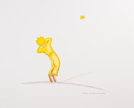 Lithograph Saint-Exupéry - Le Petit Prince endormi