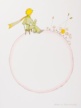 Lithograph Saint-Exupéry - Le Petit Prince et le coucher de soleil
