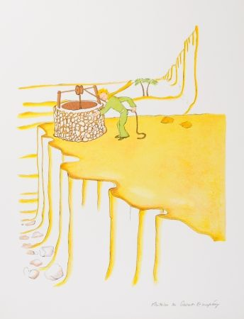 Lithograph Saint-Exupéry - Le Petit Prince et le puit dans le désert