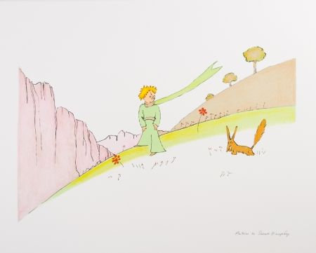 Lithograph Saint-Exupéry - Le Petit Prince et le renard