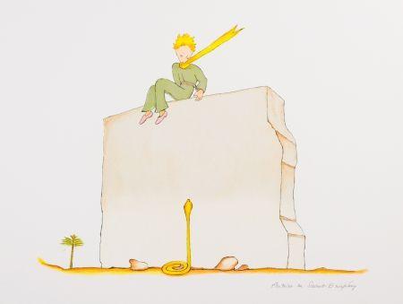 Lithograph Saint-Exupéry - Le Petit Prince et le serpent au pied du mur