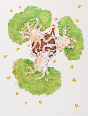 Lithograph Saint-Exupéry - Le Petit Prince et les baobabs