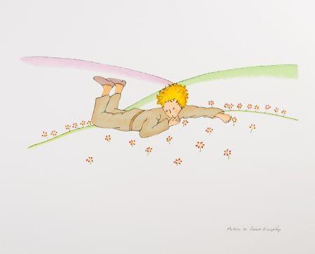 Lithograph Saint-Exupéry - Le Petit Prince parmi les fleurs