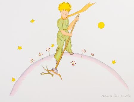Lithograph Saint-Exupéry - Le Petit Prince sur sa planète