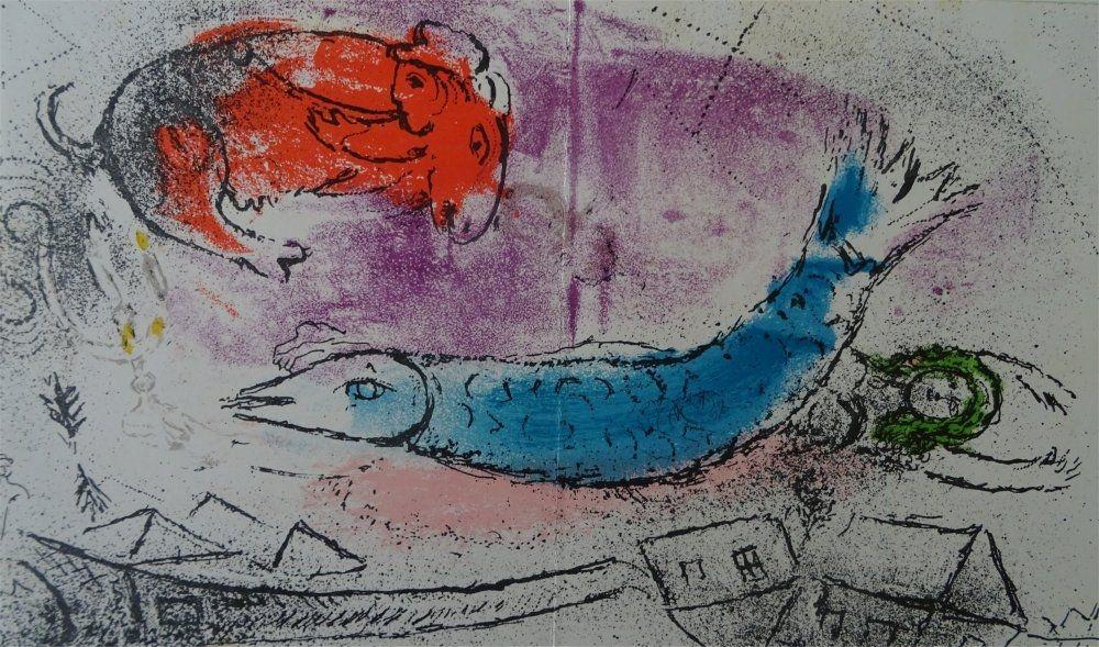 Lithograph Chagall - Le Poisson bleu