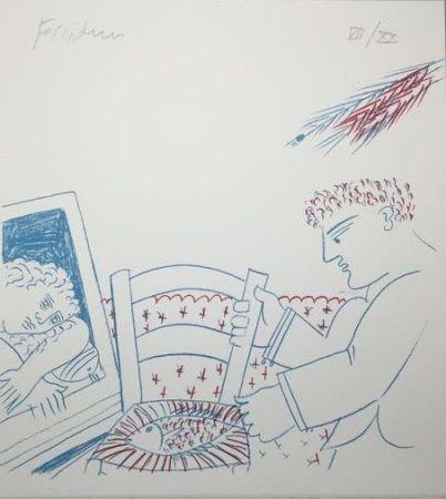 Lithograph Fassianos - Le poisson sur la chaise