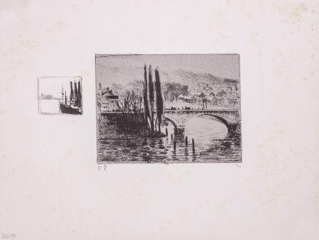 Lithograph Pissarro - Le Pont Corneille