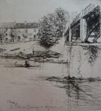 Etching Leheutre - Le Pont de Gournay, de profil