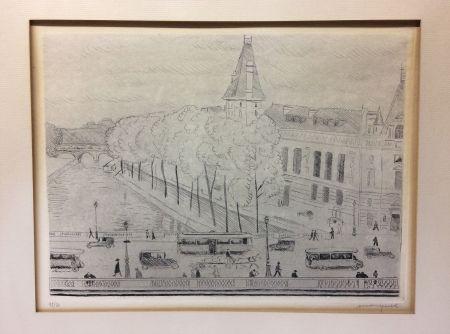 Engraving Marquet - Le Pont Saint-Michel, Paris. 1929. Signé et numéroté