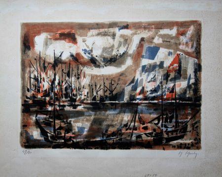 Lithograph Mouly - Le port