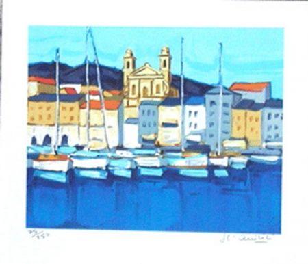 Lithograph Quilici - Le port de bastia
