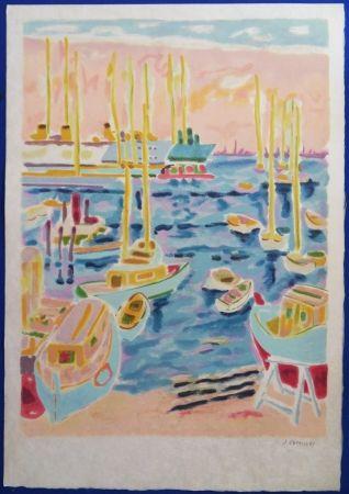 Lithograph Cavailles - Le port de Cannes