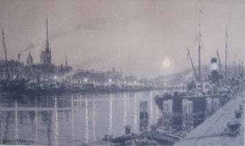 Lithograph Alleaume - Le port de Rouen