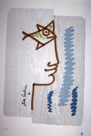Lithograph Cocteau - Le profil au poisson